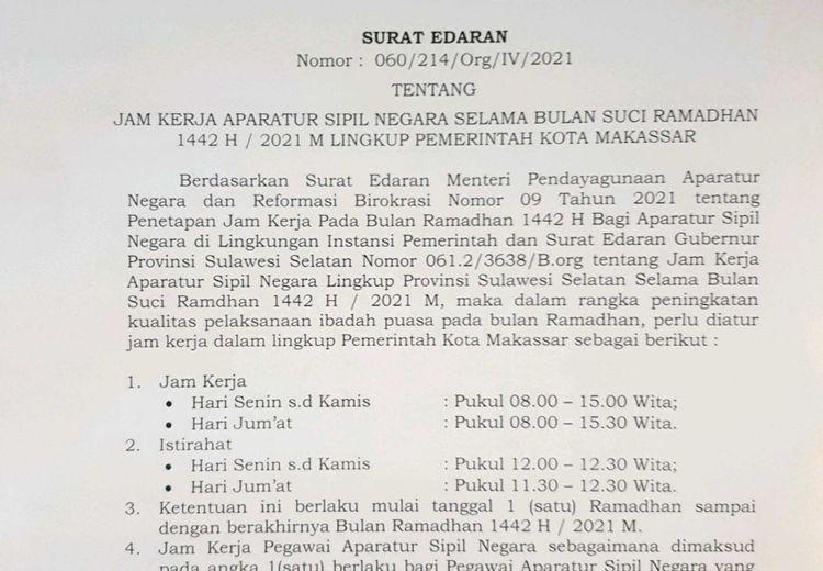Jam Kerja PNS di Makassar Selama Ramadan, Bisa Pulang Jam 15.00