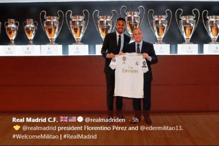 Eder Militao saat diperkenalkan sebagai pemain baru Real Madrid.