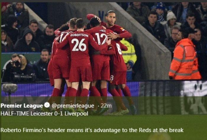Liverpool merayakan kemenangan 4-0 di kandang Leicester City, King Power Stadium, Kamis (26/12/2019).