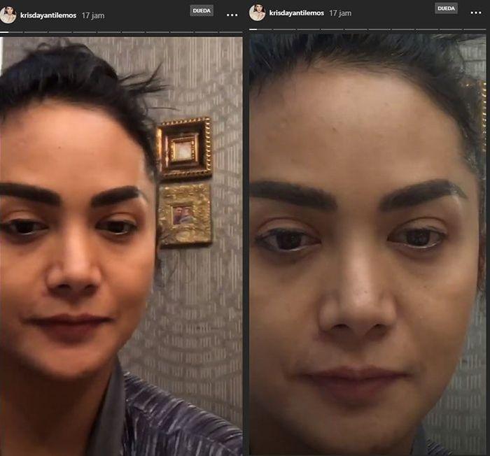 Penampilan Krisdayanti tanpa makeup