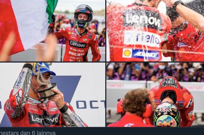 Kompilasi foto-foto Francesco Bagnaia saat memenangkan balapan MotoGP San Marino 2021 di Sirkuit Misano, Italia, Minggu (19/9/2021).