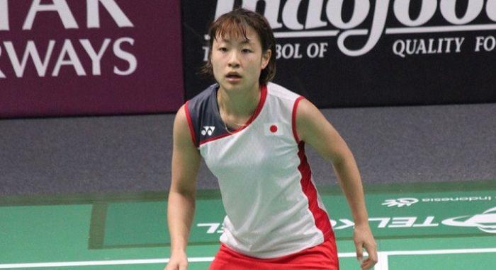 Tunggal putri Jepang, Nozomi Okuhara, saat tampil di Istora Senayan Jakarta, pada ajang Asian Games