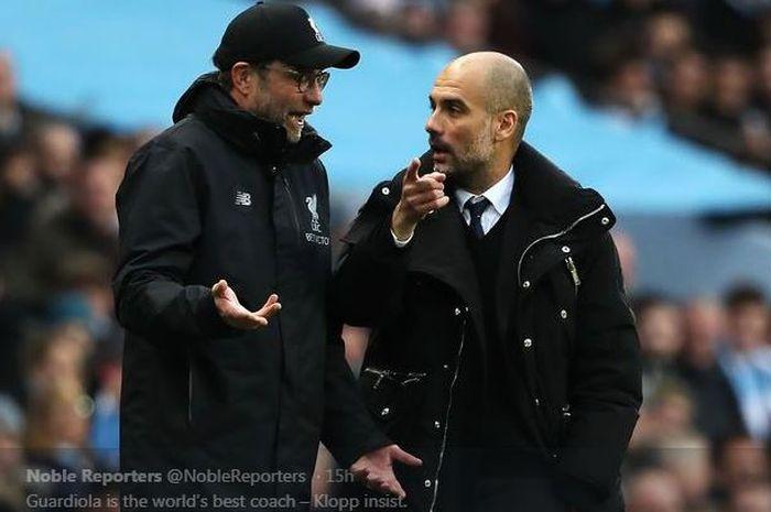 Juergen Klopp (kiri) dan Pep Guardiola.