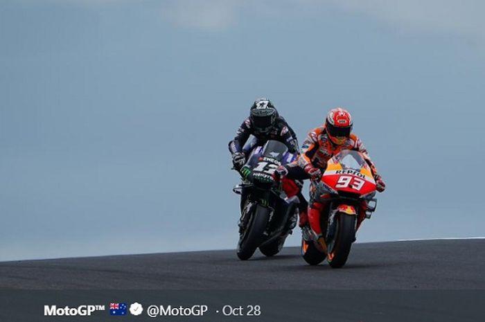 Duel ketat Marc Marquez melawan Maverick Vinales pada seri MotoGP Australia, Minggu (27/10/20190