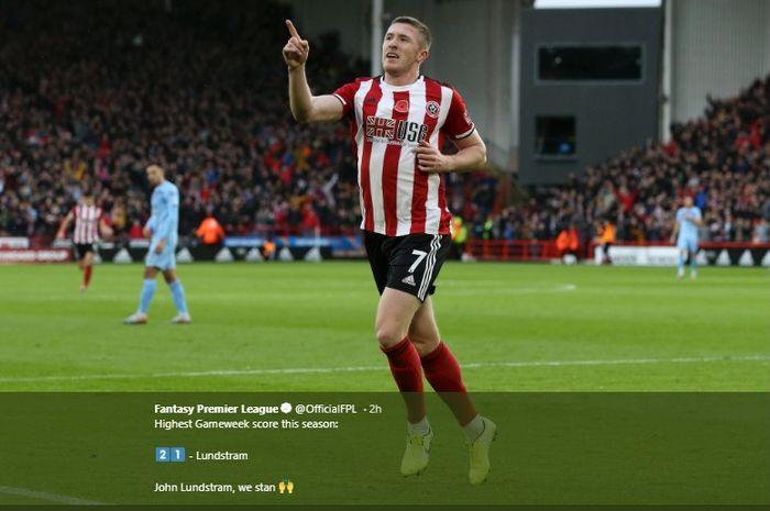 Selebrasi John Lundstram usai mencetak gol ke gawang Burnley pada lanjutan Liga Inggris, Sabtu (2/11/2019).