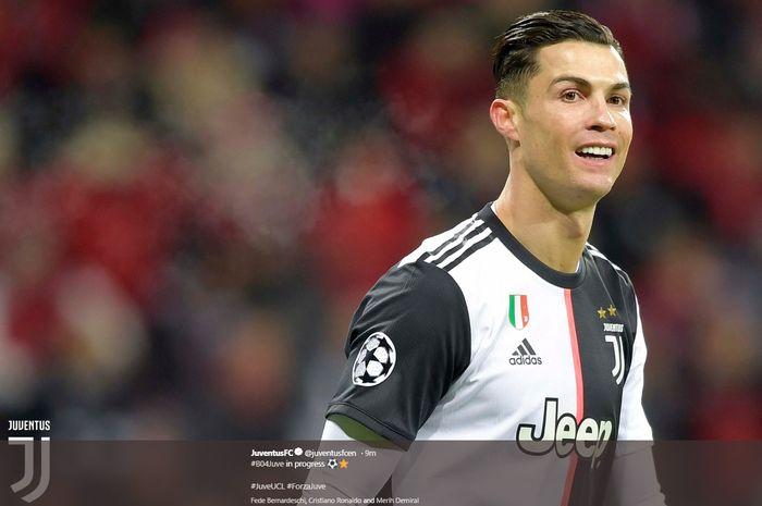 Ekspresi Cristiano Ronaldo Juventus untuk sementara di  Bayer Leverkusen di BayArena pada matchday terakhir grup D Liga Champions, Rabu (11/12/2019) atau Kamis dini hari WIB.