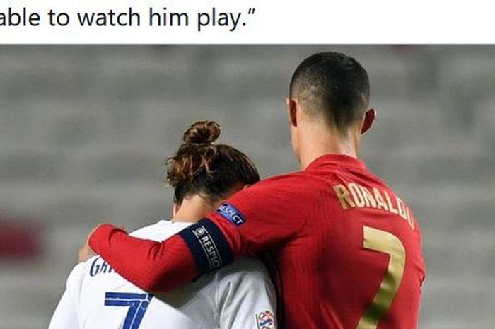 Jelang melawan timnas Portugal dalam laga Grup F EURO 2020, Antoine Griezmann menyejajarkan Cristiano Ronaldo dengan Lionel Messi.