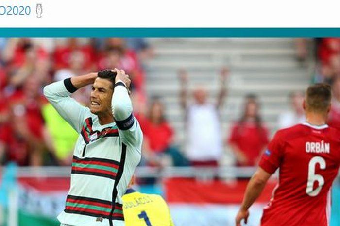 Cristiano Ronaldo membuang peluang gol 100 persen, timnas Portugal ngamuk dalam empat menit pada laga EURO 2020.