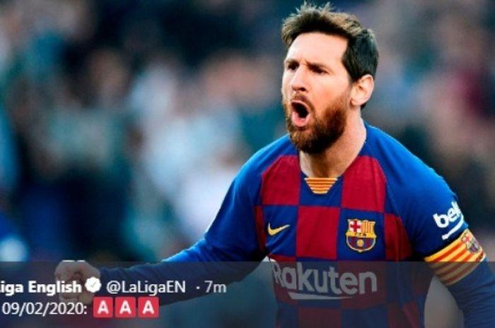 Megabintang Barcelona, Lionel Messi, berselebrasi seusai menjebol gawang Eibar dalam laga Liga Spanyol di Stadion Camp Nou, Sabtu (22/2/2020).