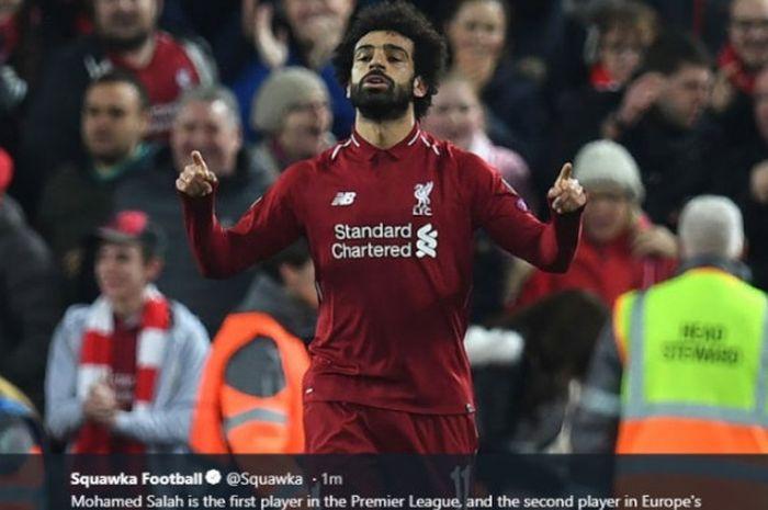 Mohamed Salah mencetak gol saat Liverpool melawan Crystal Palace pada pekan ke-23 Liga Inggris musim 2018-2019.