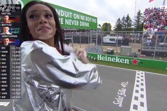 Winnie Harlow mengibarkan bendera finish di GP F1 Kanada lebih awal, tetapi ini bukan salah dia