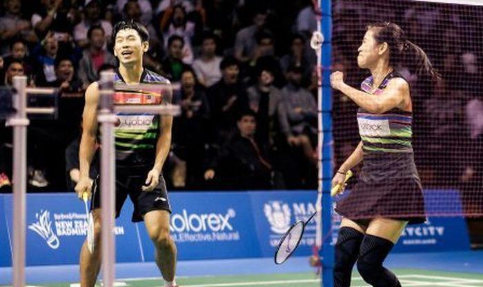 Pasangan ganda campuran Malaysia, Chan Peng Soon/Goh Liu Ying, saat berhasil memastikan gelar juara pada New Zealand Open 2019, di Eventfinda Stadium, Auckland, Selandia Baru, Minggu (5/5/2019).