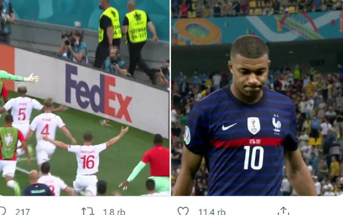 Para pemain Swiss merayakan keberhasilan lolos ke perempat final Euro 2020 setelah striker Prancis pengagum Cristiano Ronaldo, Kylian Mbappe (kanan), gagal dalam eksekusi terakhir adu penalti di Arena Nationala, Bucharest, Rumania, Selasa (29/6/2021) dini hari WIB.