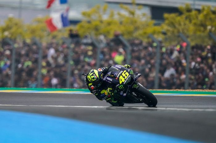 Valentino Rossi ketika menjalani balapan MotoGP Prancis 2019, Minggu (19/5/2019).