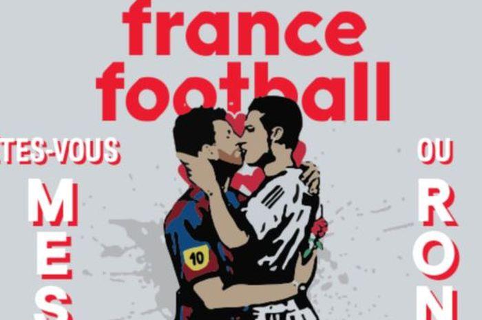 Sampul majalah Prancis, Football France, menampilkan gambar mural Lionel Messi dan Cristiano Ronaldo sedang berciuman.