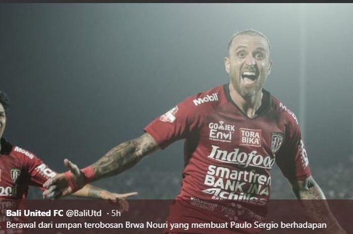 Paulo Sergio merayakan golnya untuk Bali United ke gawang Persija dalam partai Liga 1 di Stadion Kapten I Wayan Dipta Gianyar, 31 Mei 2019.
