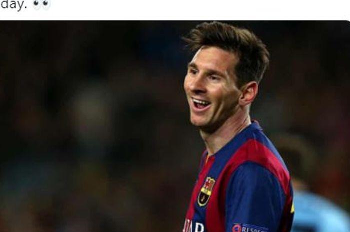 Ekspresi Lionel Messi saat berseraga Barcelona dalam sebuah laga