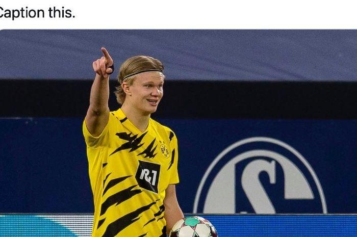 Penyerang Borussia Dortmund, Erling Haaland, kembali tampil on fire saat timnya bertemu Schalke 04 dalam laga derbi Ruhr di Stadion Veltins Arena, Gelsenkirchen, Jerman.