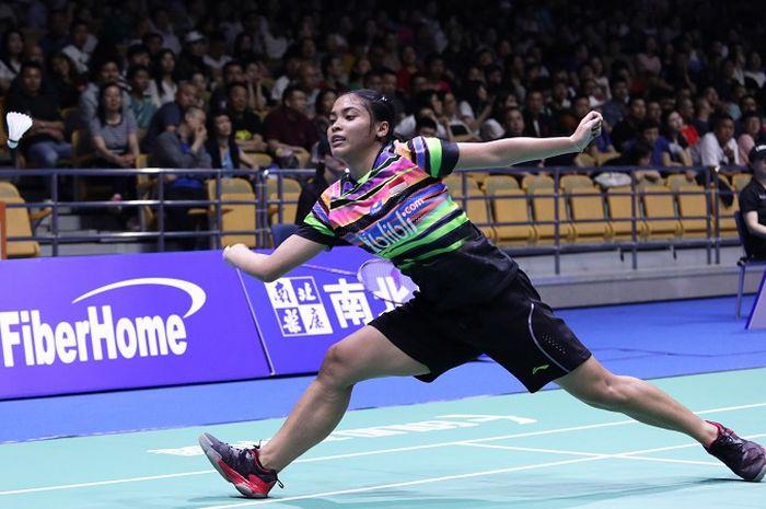 Pebulu tangki tunggal putri Indonesia, Gregoria Mariska Tunjung, saat tampil pada babak kedua Kejuaraan Asia 2019, Kamis (25/4/2019)