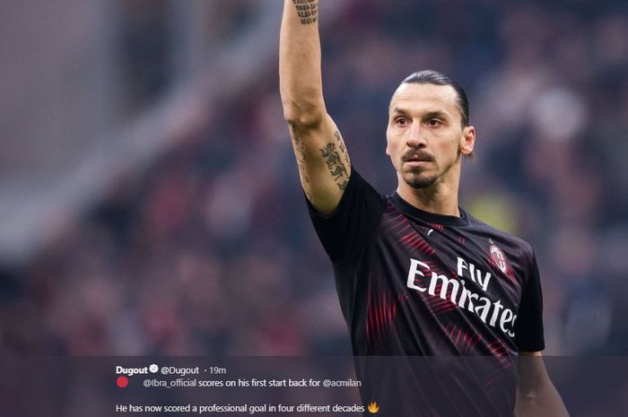 Zlatan Ibrahimovic mencetak gol pertama untuk AC Milan pada laga lawan Cagliari, Sabtu (11/1/2020).