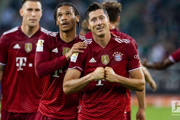Robert Lewandowski merayakan gol Bayern Muenchen ke gawang Moenchengladbach pada laga pembuka Bundesliga 2021-2022.