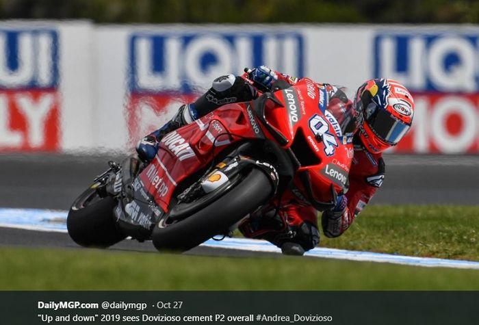 Aksi pembalap Ducati, Andrea Dovizioso pada seri MotoGP Australia 2019, Minggu (27/10/2019)