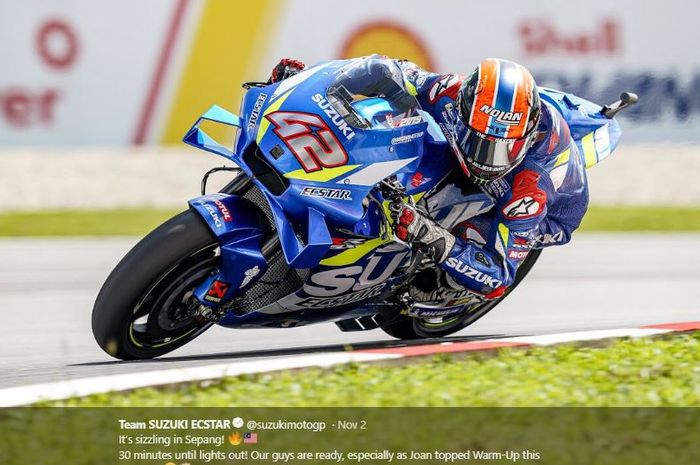 Pembalap Suzuki Ecstar, Alex Rins saat melakukan sesi pemanasan MotoGP Malaysia 2019, Minggu (3/11/2019)