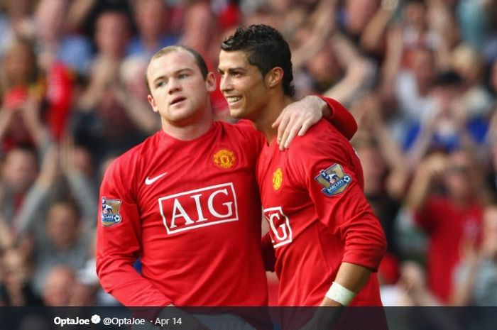 Wayne Rooney dan Cristiano Ronaldo saat masih mengenakan seragam Manchester United.