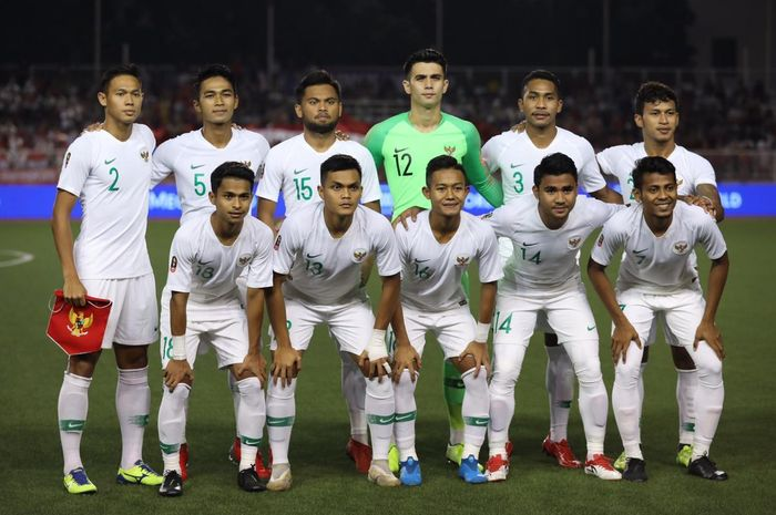 Skuad timnas U-22 Indonesia melawan Vietnam.