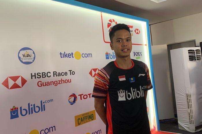 Pebulu tangkis tunggal putra Indonesia, Anthony Sinisuka Ginting, pasca laga babak kedua Indonesia Open 2019 di Istora Senayan, Jakarta, Kamis (18/7/2019).