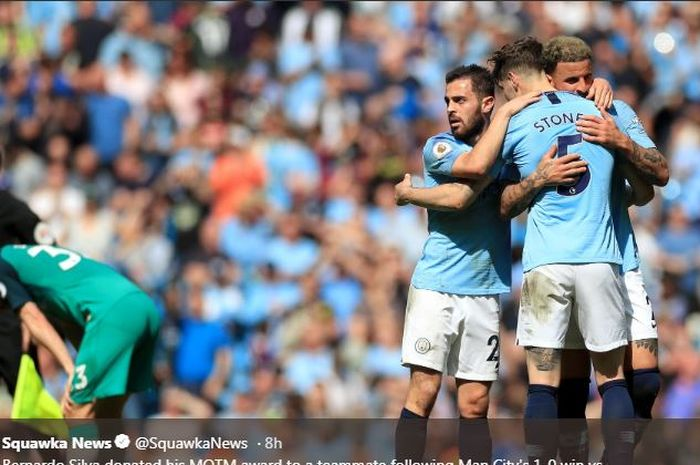 Para pemain Manchester City merayakan gol ke gawang Tottenham, 20 April 2019.
