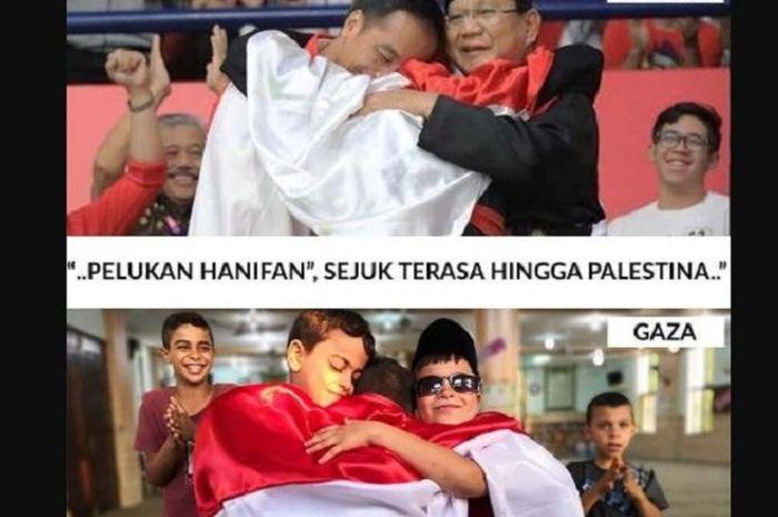 Momen Pelukan Jokowi Hanifan Dan Prabowo Direka Ulang Anak Anak