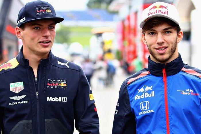 Duet pembalap Red Bull musim 2019, Max Verstappen (kiri) dan Pierre Gasly (kanan)