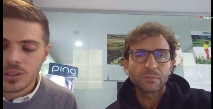 Legenda Barcelona dan Real Madrid, juga eks pelatih timnas Indonesia, Luis Milla (kanan), bersama Delegasi LaLiga Global Network, Rodrigo Gallego, dalam sesi diskusi daring soal el clasico, 22 Oktober 2020.
