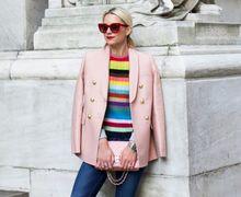 6 Inspirasi Padu-padan Rainbow Striped yang Cocok Buat Cewek Tomboy