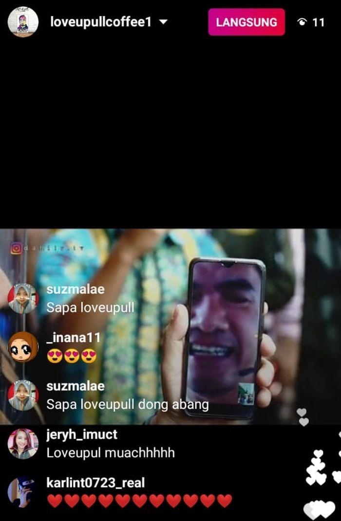 Saipul Jamil yang dihadirkan secara virtual dalam pembukaan kafenya yang terletak di kawasan Cilangkap, Jakarta Timur, Rabu (9/9/2020). (Instagram/Instagram/loveupullcoffee1)