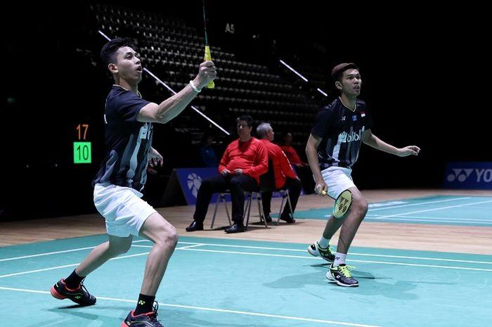 Pasangan ganda putra Indonesia, Fajar Alfian/Muhammad Rian Ardianto, tampil pada babak kedua Swiss Open 2019 di St Jakobshalle, Kamis (14/3/2019).