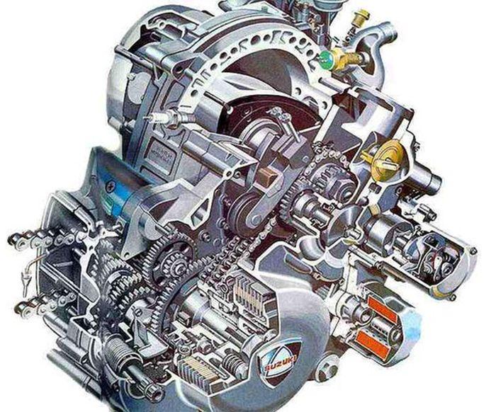 Ilustrasi mesin wankel Suzuki RE5