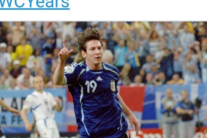 Lionel Messi usai mencetak gol keenam bagi timnas Argentina dalam laga melawan Serbia dan Montenegro di fase grup Piala Dunia, 16 Juni 2006.