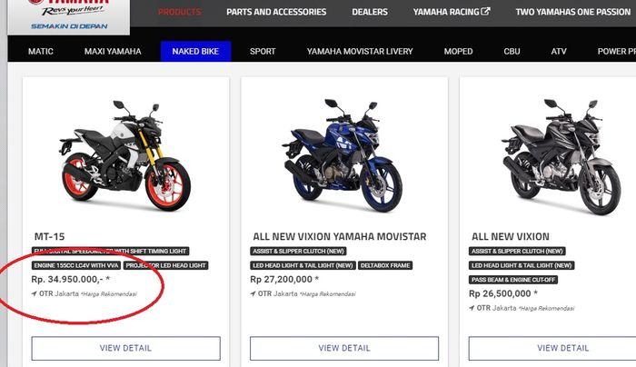 Yamaha MT-15 dijual Rp 34,95 juta