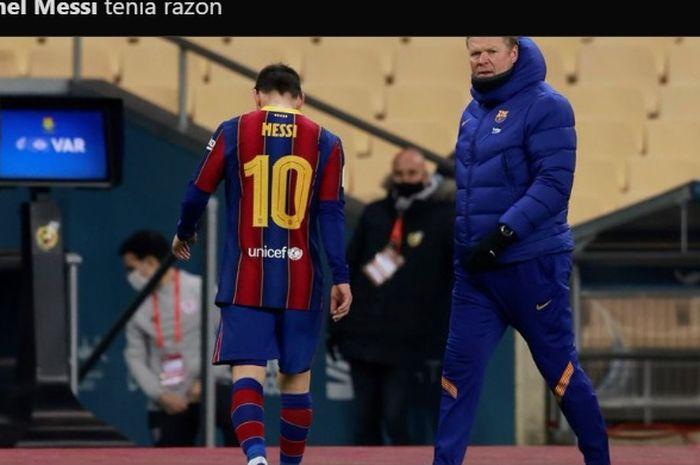 Ronald Koeman menghampiri Lionel Messi kala mendapat kartu merah di laga semifinal Piala Super Spanyol.