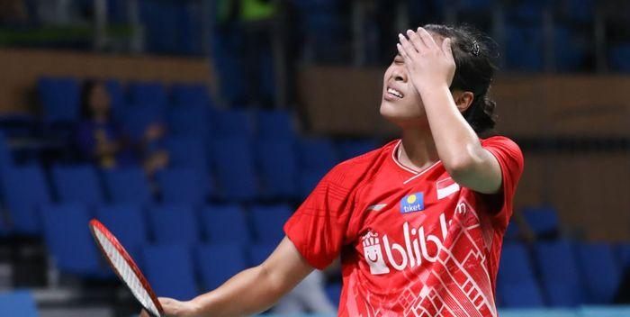 Ekspresi pemain tunggal putri Indonesia, Gregoria Mariska Tunjung, saat bermain pada perempat final Korea Open 2019.