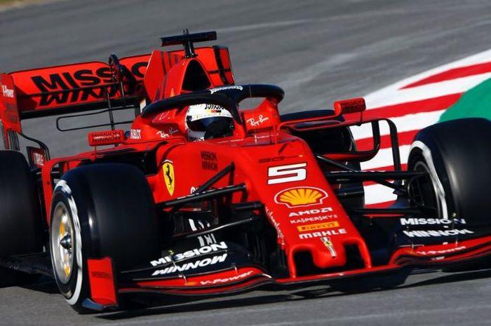 Sebastian Vettel, saat tes pramusim 2019