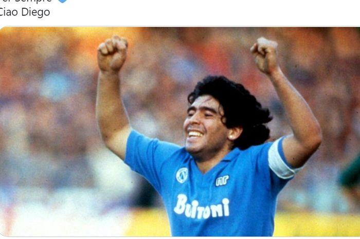 Cuitan duka Napoli atas berpulangnya Diego Maradona.