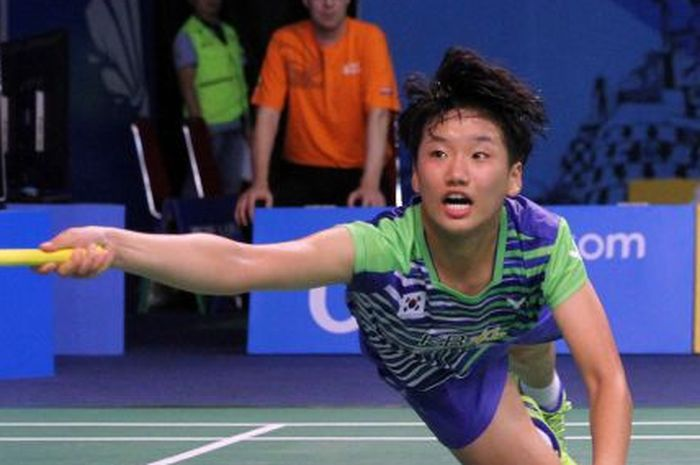 Pebulu tangkis tunggal putri Korea Selatan, An Se-young, tampil pada Kejuaraan Dunia Junior 2017.
