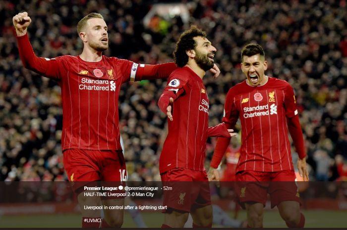 Selebrasi Mohamed Salah usai jebol gawang Manchester City di Anfield, pada Liga Inggris pekan ke-12, Minggu (10/11/2019).