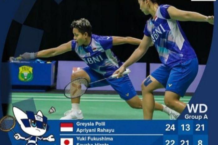 Greysia Polii dan Apriyani Rahayu berhasil menaklukkan pasangan Jepang, Yuki Fukushima dan Sayaka Hirota di Olimpiade Tokyo 2020