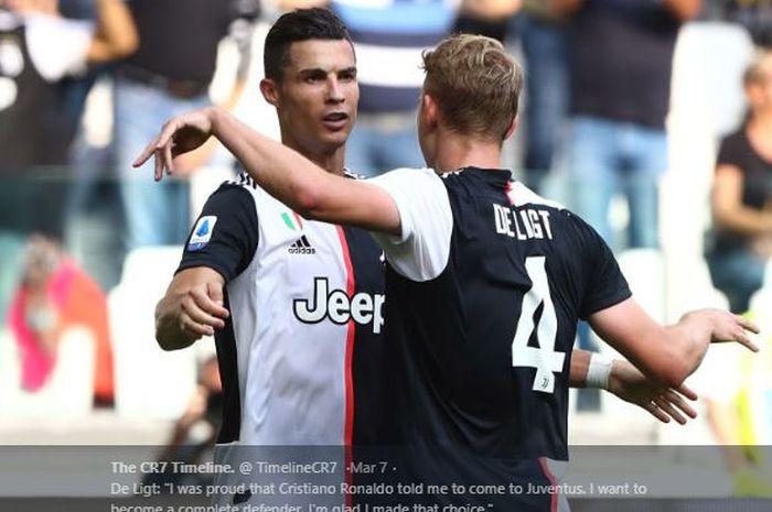 Megabintang Juventus, Cristiano Ronaldo (Kiri) saat melakukan perayaan gol bersama Matthijs de Ligt.